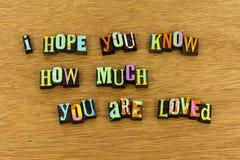 Believe know love kindness hope joy letterpress royalty free stock image