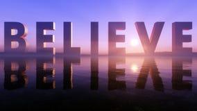 Believe Logo On The Epic Lake Sunset Horizon Stock Images