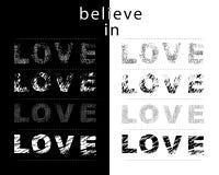 Believe in Love typography motivational positive slogan stock illustration