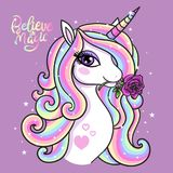 Believe in magic. A beautiful unicorn. Believe in magic. A beautiful, rainbow unicorn with a rose. Vector illustration for your design stock illustration