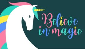 Believe in magic fantasy Illustration. Colored unicorn silhouette, cloud and inspiration, encourage, motivation quotes. Miracle time lettering. Template for royalty free illustration