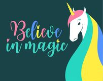 Believe in magic fantasy Illustration. Colored unicorn silhouette, cloud and inspiration, encourage, motivation quotes. Miracle time lettering. Template for stock illustration