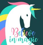 Believe in magic fantasy Illustration. Colored unicorn silhouette, cloud and inspiration, encourage, motivation quotes. Miracle time lettering. Template for vector illustration