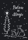 Believe in magic hand drawn black and white outline christmas winter new year greeting card with cute small and big polar bears Stock Photography