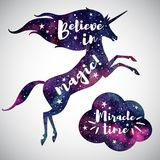 Believe in magic lettering, watercolor unicorn and cloud silhouette. Believe in magic fantasy Illustration. Watercolor unicorn silhouette, cloud and inspiration Royalty Free Stock Images