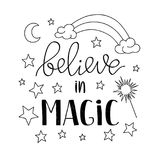 Believe in Magic quote poster, greeting card with stars moon and rainbow. Vector illustration in outline for kids prints. Textile and other vector illustration