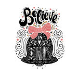 Believe in X mas- Christmas typographic poster, greeting card, print. Winter holiday saying.Hand lettering inside Christmas bell. Vector Illustration Stock Photography