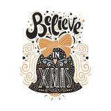 Believe in X mas- Christmas typographic poster, greeting card, print. Winter holiday saying.Hand lettering inside Christmas bell. Vector Illustration Royalty Free Stock Images