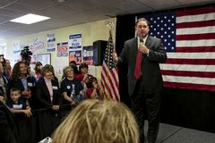 Believe Me. Congressman Frank Guinta speaking on stage to voters in front of flag. 10-8-12 Republican Congressman Frank Guinta- Derry, New Hampshire- Speaking to Stock Images