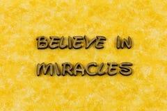 Believe miracle dream faith spiritual joy letterpress type. Believe miracle dream faith spiritual joy typography letter always miracles dreams love religion stock photography