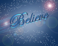 Believe in Miracles illustration. Artistic illustration with 3D text, Believe on blue background with stars and light refraction stock illustration