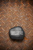 Believe Rock Rusty Background Royalty Free Stock Photography