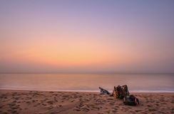 Believe and Sea. At beach in morning Stock Photos