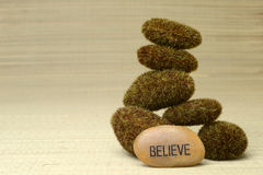 Believe stone with moss covered rocks Stock Images