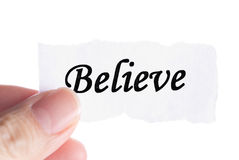 Believe word in finger Royalty Free Stock Photos