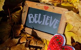 Believe. Word Believe written on a wood framed blackboard with heart shape and scrolls Royalty Free Stock Image