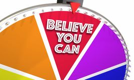 Believe You Can Hope Faith Confidence Game Wheel. 3d Illustration Stock Photo