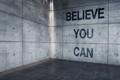 Believe You Can. Motivational Graffiti Message on Concrete Wall Stock Images