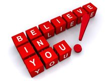 Believe in you. Illustration of red letter blocks with white letters on them forming the concept believe in you Stock Image