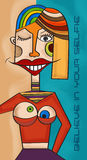 Believe in your selfie fun cubist art illustration, Stock Photos