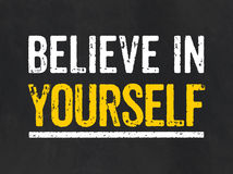Believe in yourself. Blackboard with the text Believe in yourself royalty free illustration