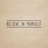 Believe in yourself on brown tissue paper Stock Photography