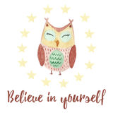 Believe in yourself card with a cute owl Royalty Free Stock Photo