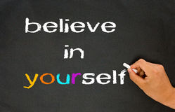 Believe in yourself. Concept on chalkboard Royalty Free Stock Image