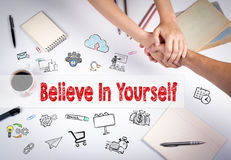Believe in yourself concept. The meeting at the white office table Stock Image