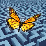 Believe In Yourself. Concept and metaphor for success with a monarch butterfly on a journey flying over a complicated maze or labyrinth to rise above adversity vector illustration