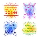 `Always believe in yourself` `Do more of what you LOVE` `Wake up and be fabulous` `Stop dreaming and start DOING`. Hand. Drawn words on blue and yellow paint royalty free illustration
