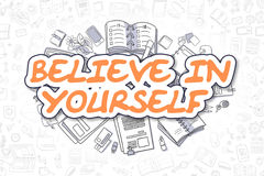 Believe In Yourself - Doodle Orange Text. Business Concept. Stock Photos