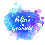 Believe in yourself. Inspirational quote with. Modern brush calligraphy at artistic night sky background with hand drawn stars. Vector lettering for cards and Royalty Free Stock Photography