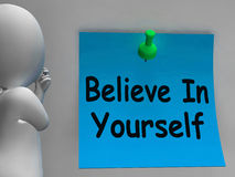Believe In Yourself Note Shows Self Belief Stock Photography