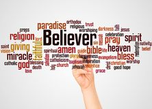 Believer word cloud and hand with marker concept. On gradient background stock photos