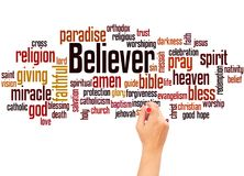 Believer word cloud and hand writing concept. On whitebackground stock photography