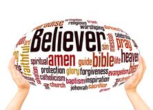 Believer word cloud sphere concept. On white background royalty free stock images