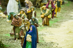 Believers. In queue to give their presents to baby Jesus Royalty Free Stock Photos