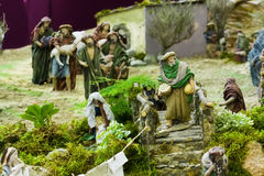 Believers. In queue to give their presents to baby Jesus Royalty Free Stock Images