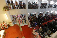Believers church attendance. January 6, 2016 morning, xiamen catholic church priest ordained ceremony held at amoy city, china Stock Photos