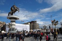 Believers gather in the main town square to attend Mass with Pope Francis in Skopje. The capital city of North Macedonia stock photo