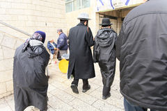 Believers going to the Wailing Wall Stock Image