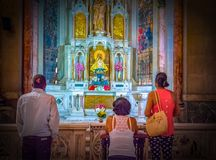 Havana Cuba: The `Reina` Catholic Church, indoors. Believers and members of the Reina street Catholic Cathedral. The church located in Havana is one of the most Stock Images