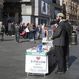 Believers Muslims are on the Leicester square explaining all interested in what is the Muslim religion, and who the Prophet Muhamm Royalty Free Stock Photos