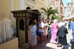 The believers are near Saint Spyridon Church. CORFU, GREEES - MAY 17: The believers are near Saint Spyridon Church on May 17, 2016 in Corfu, Greece. Up to 16 mln Royalty Free Stock Photography