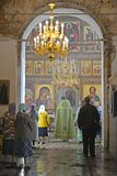 The believers people stand on church service in Church of the Assumption. Poshekhonje, Yaroslavl region.  royalty free stock photo