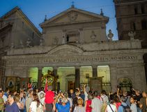 ROMA, ITALY - JULY 2017: Believers pilgrims gathered in front of the church on a religious festival Royalty Free Stock Image