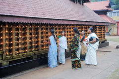 Believers praying at the hindu temple of Kollam Stock Photography