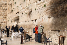 Believers by the Western Wall, Wailing Wall or Kotel Stock Photo