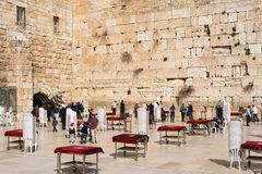 Believers by the Western Wall, Wailing Wall or Kotel Stock Photos